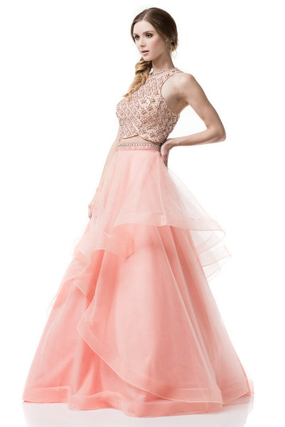 Halter Two Pieces Prom Evening Long Dress