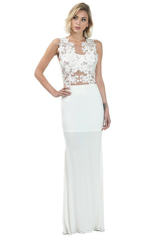 Lace & Mesh Applique Maxi Gown