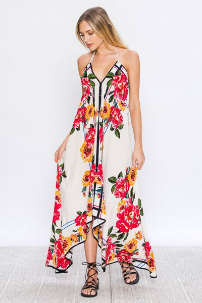 Floral Print Dress With Halter Neck - Prom And Bridal Dress House