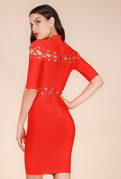 Maryana Mock Neck Lace Up Eyelet Bandage Dress