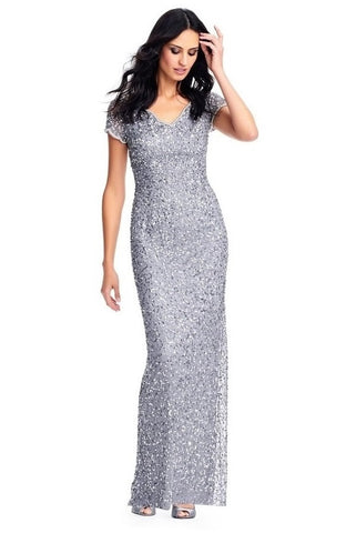 Adrianna Papell Embellished V-Neck Short Sleeve Bodycon Slit Back Mesh Dress - Prom And Bridal Dress House