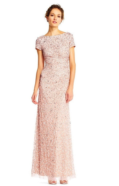 Adrianna Papell Boat Neck Short Sleeve Gathered Side Sequin Mesh Dress - Prom And Bridal Dress House