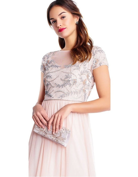 Adrianna Papell Short Sleeve Dress - Prom And Bridal Dress House