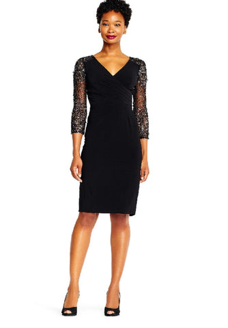 Adrianna Papell V-Neck Sequined Long Sleeve Zipper Back Dress