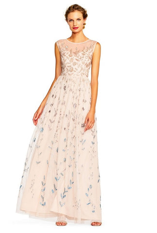Adrianna Papell Sleeveless Illusion Bateau Neckline Embellished Mesh Long Dress - Prom And Bridal Dress House