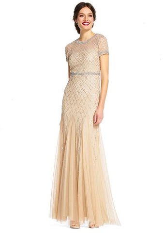 Adrianna Papell Crew Neck Short Sleeve Illusion Keyhole Back Embellished Godet Mesh Dress - Prom And Bridal Dress House