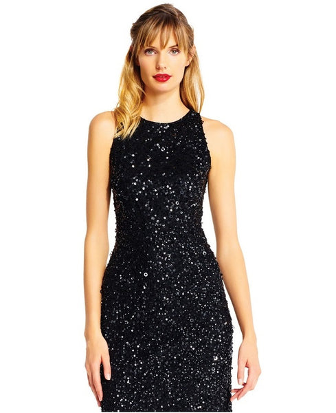 Adrianna Papell Crew Neck Sleeveless Bodycon Zipper Back Sequin Mesh High Low Hem Dress - Prom And Bridal Dress House