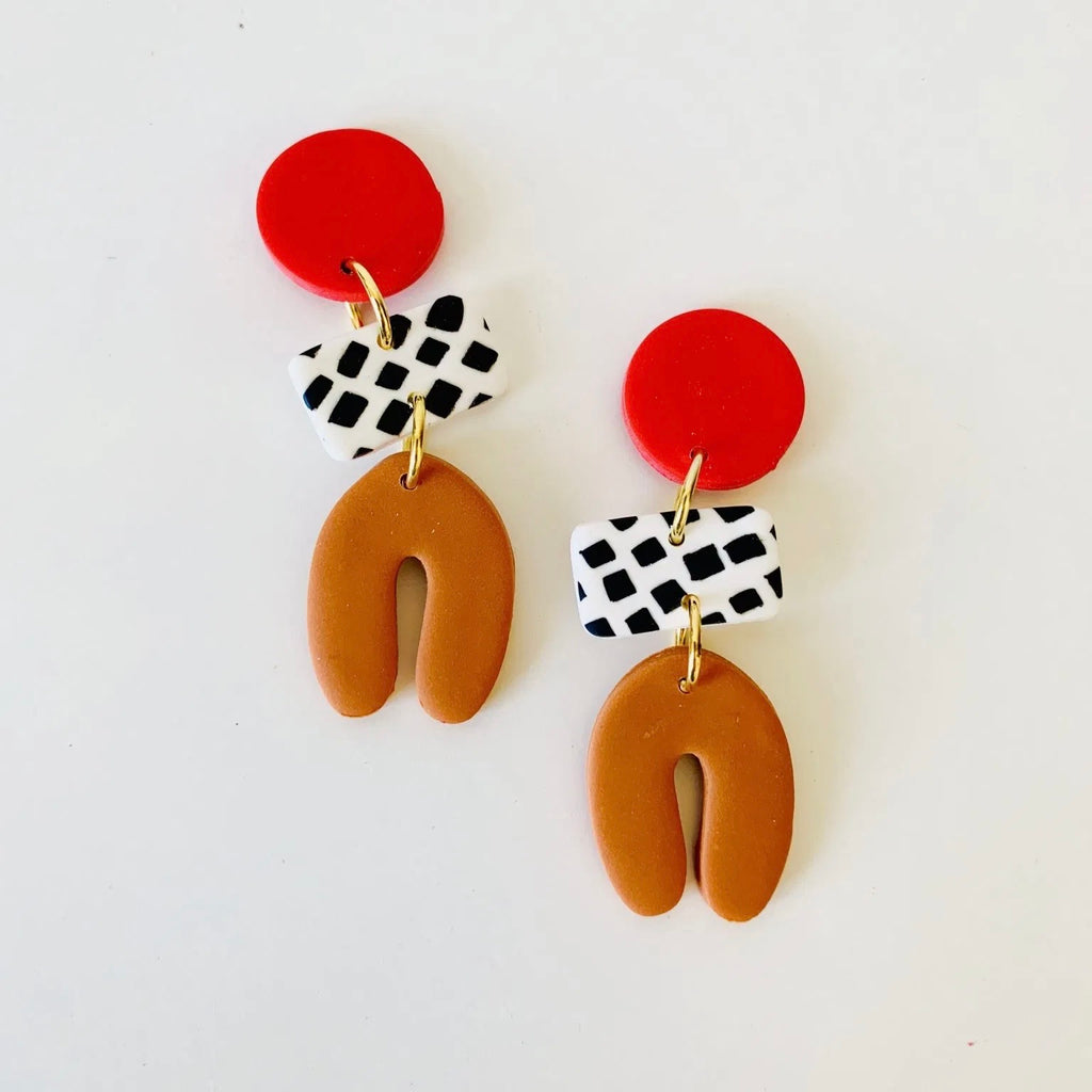 Dotty Shape Earring - Red