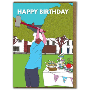 HAPPY BIRTHDAY CAKE MALLET GREETINGS CARD