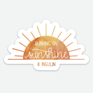 Running on Sunshine and Insulin - T1D Large Sticker - FREE SHIPPING