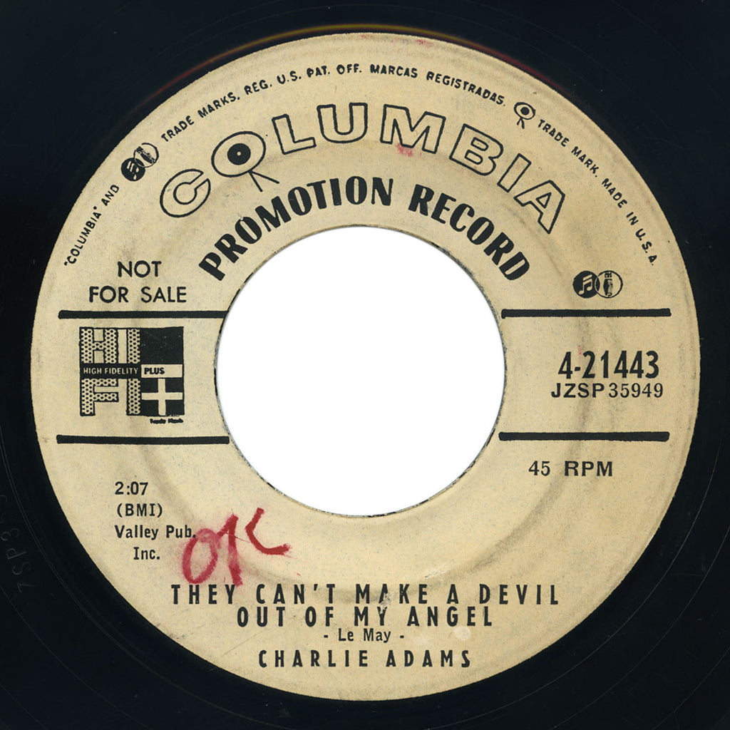 Charlie Adams – Pistol Packin' Mama Has Laid Her Pistol Down / They Can't Make A Devil Out Of My Angel – Columbia