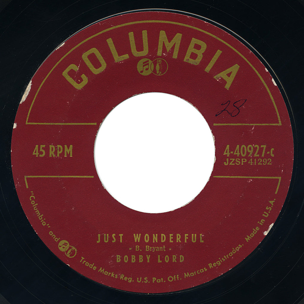 Bobby Lord – Just Wonderful – Columbia