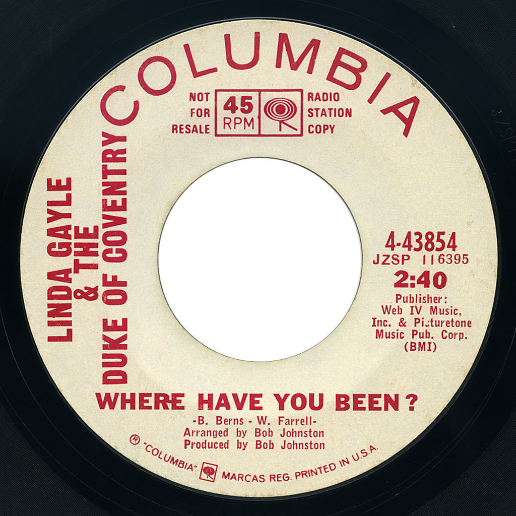 Linda Gayle & The Duke Of Coventry – Where Have You Been? – Columbia