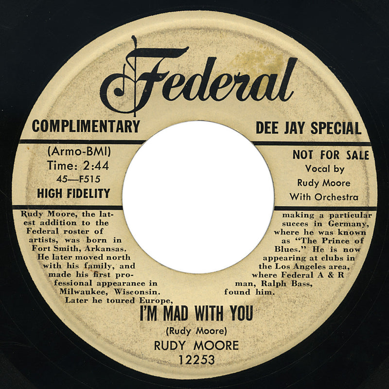 Rudy Moore – I'm Mad With You – Federal