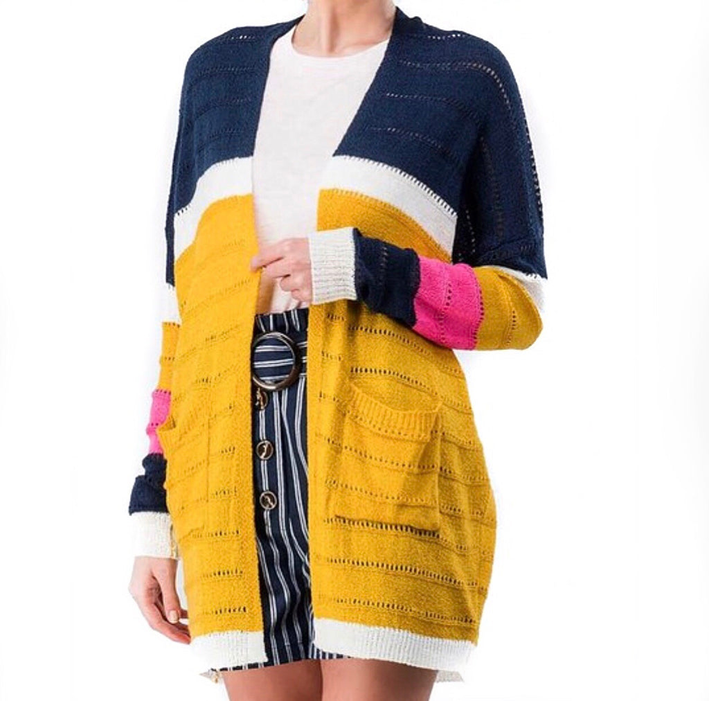 #Color Block Knit Cardi