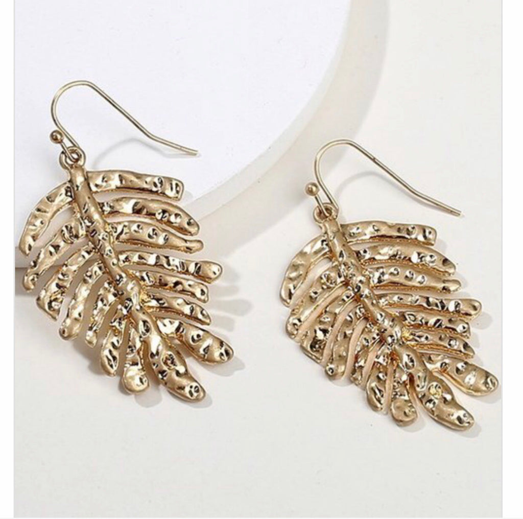 #Gold Glam Palm Leaf Earrings