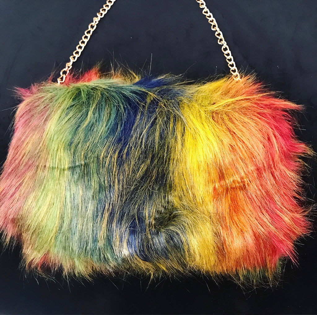 #Multi Fur Clutch (with chain strap)