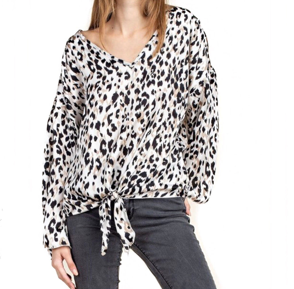 #Satin Leopard V Neck Blouse