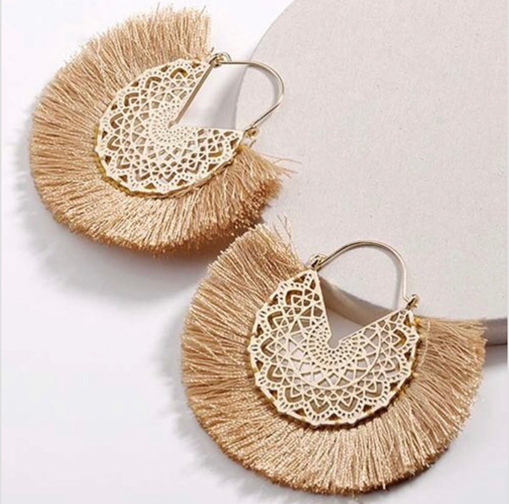 #Camel & Gold Glam Earrings