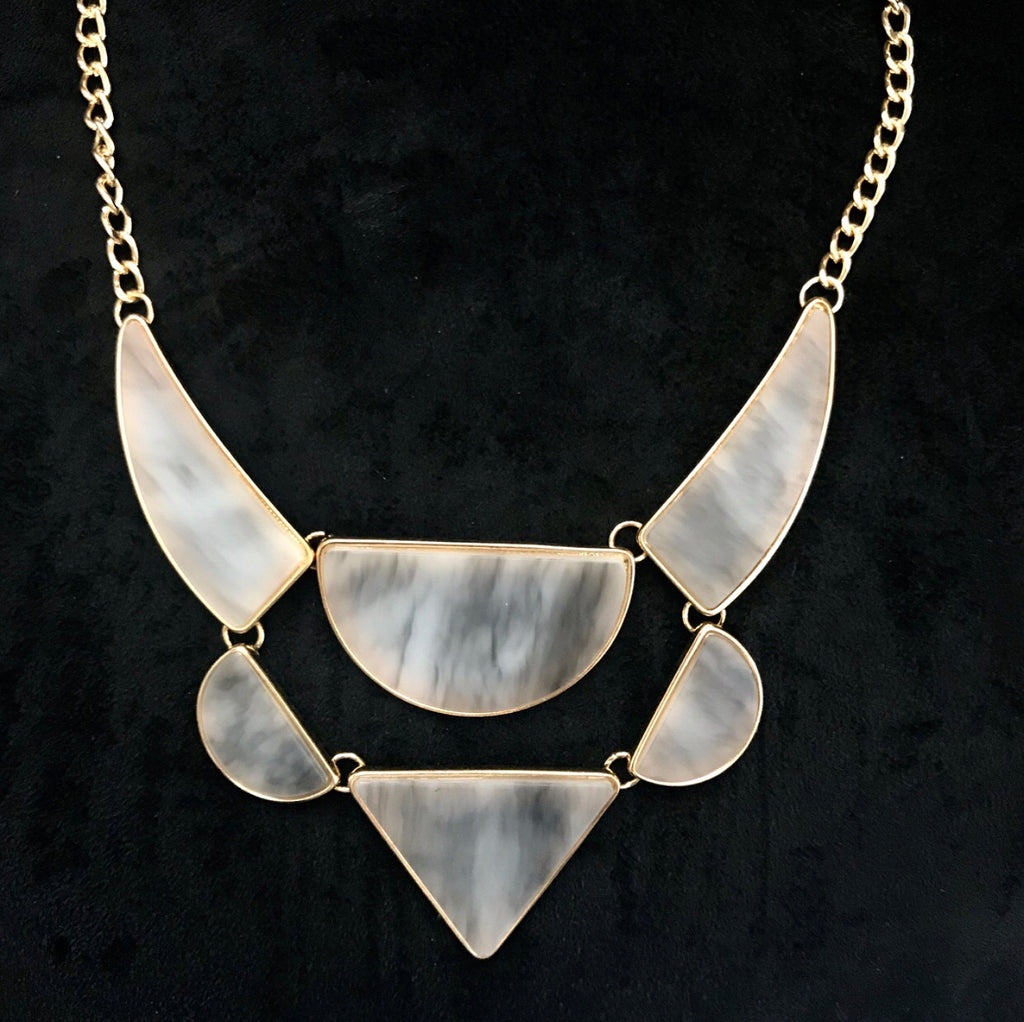 **Marbled Geo Statement Necklace