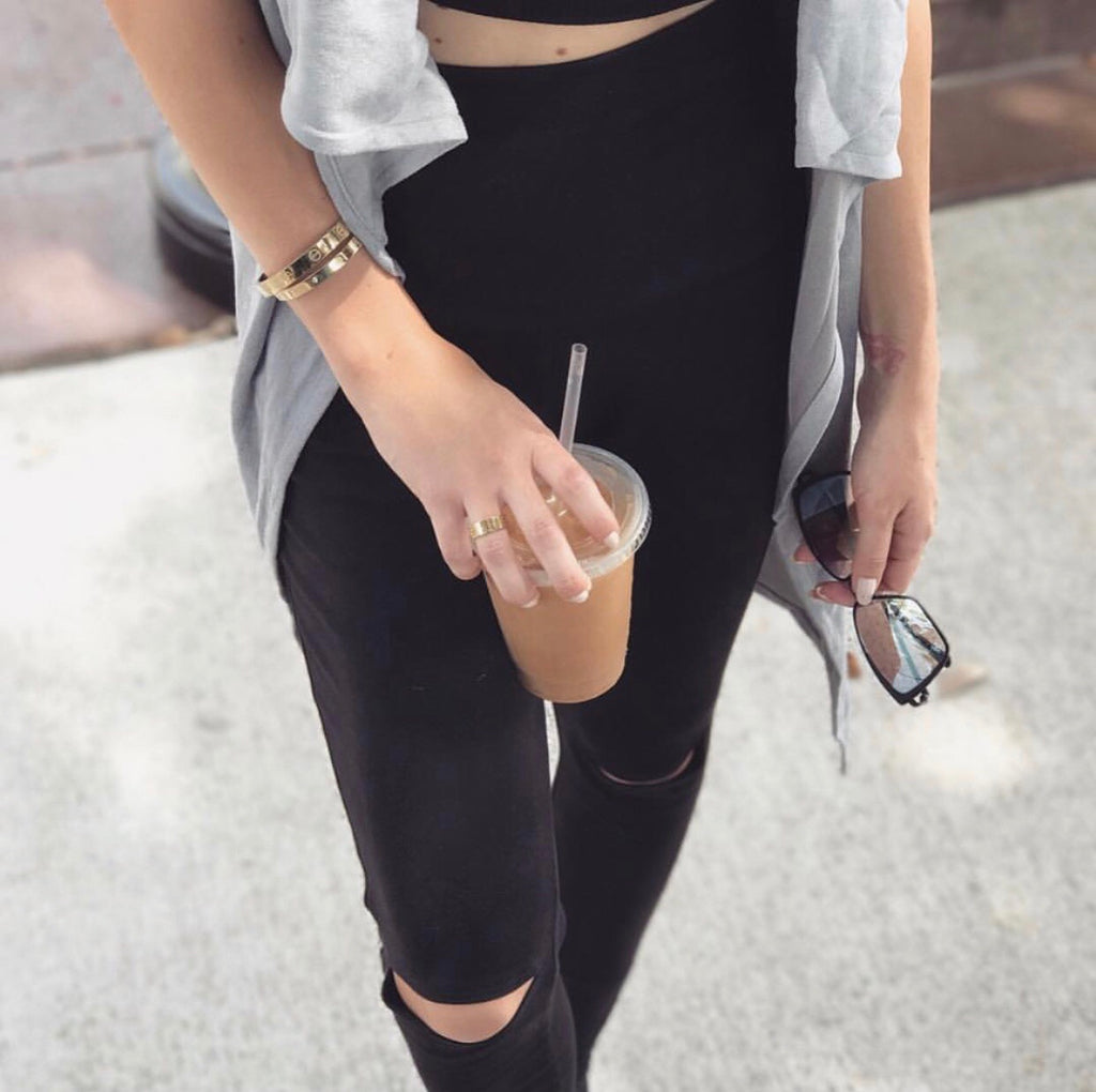 #Black Knee Slit Leggings