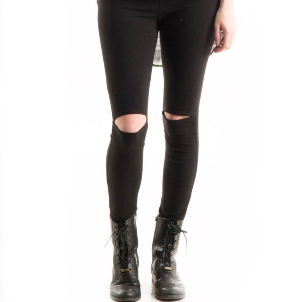 High Waisted Black Knee Slit Leggings