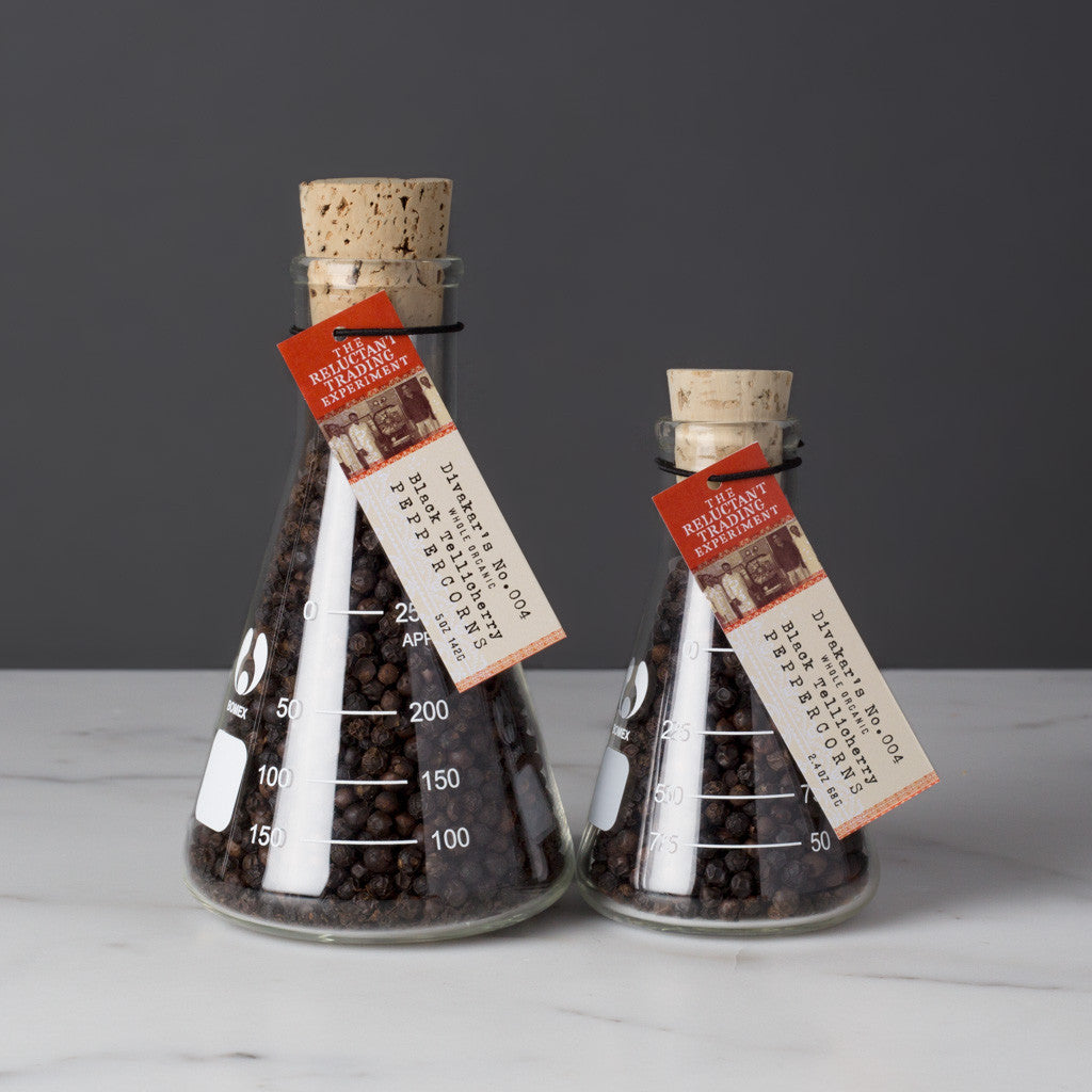 Whole Black Tellicherry Peppercorns in Real Glass Science Flasks