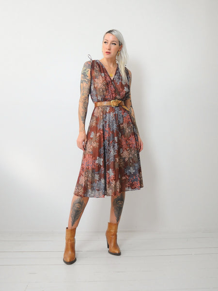 70s Botanical Wrap Dress