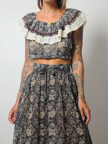 70's Floral 2 Piece Skirt Set