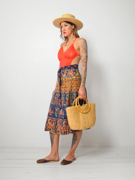 70's Batik Cotton Wrap Skirt
