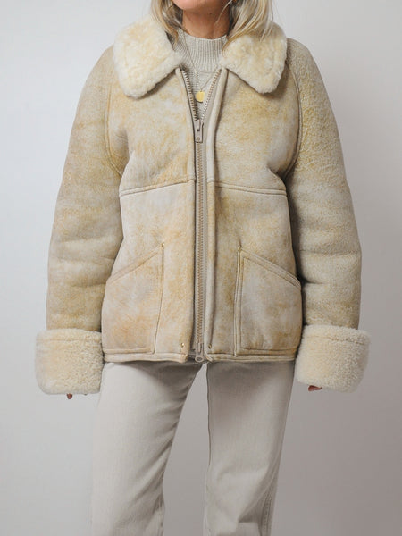 70's Oatmeal Shearling Coat
