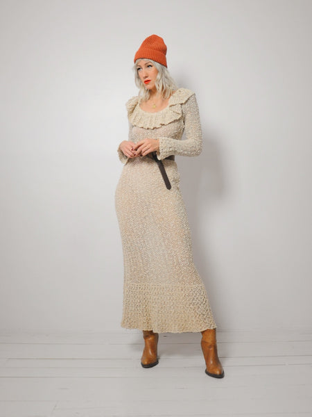 70's Irish Linen Crochet Dress