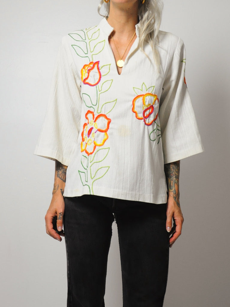 70's Elle embroidered Blouse