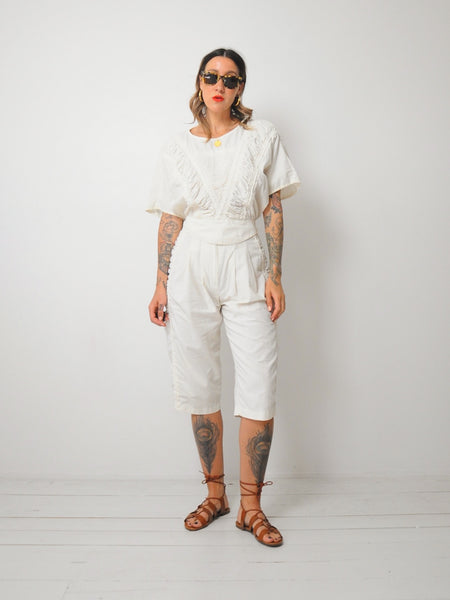 Ecru Textured 2 Piece Pant Set