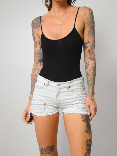 White Levi's Frayed Cut Offs