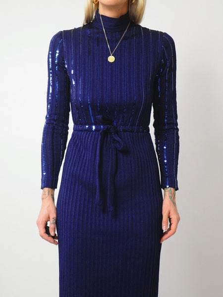 60's Midnight Sequined Knit Dress