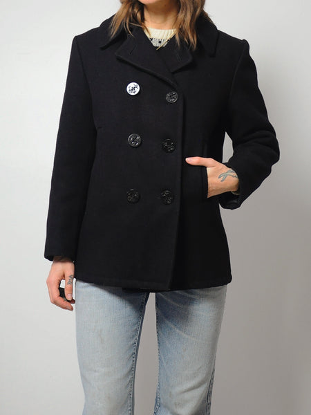70's Black Wool Peacoat