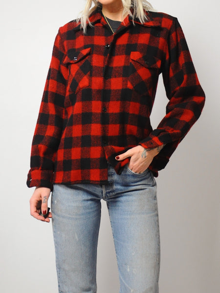 70's Wool Buffalo Plaid Flannel