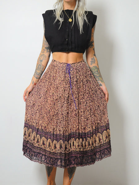 70's India Cotton Drawstring Skirt