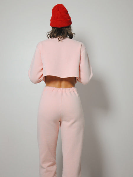 Pink Cropped Sweat Suit