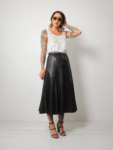Black Leather midi skirt