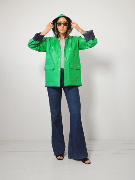Kelly Green Hooded Raincoat