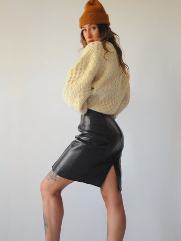 Kiera Black Leather Skirt