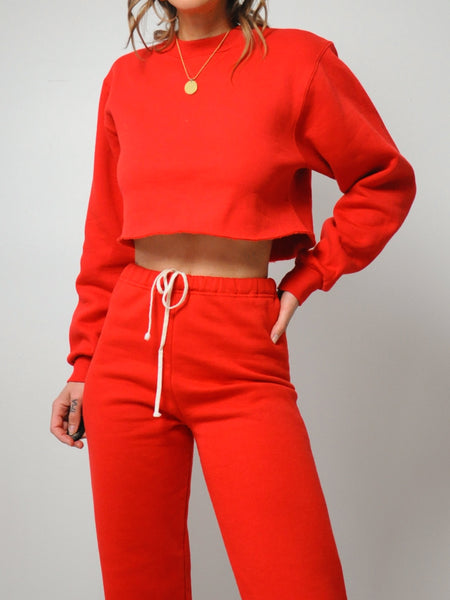 Red Cropped Sweat Suit