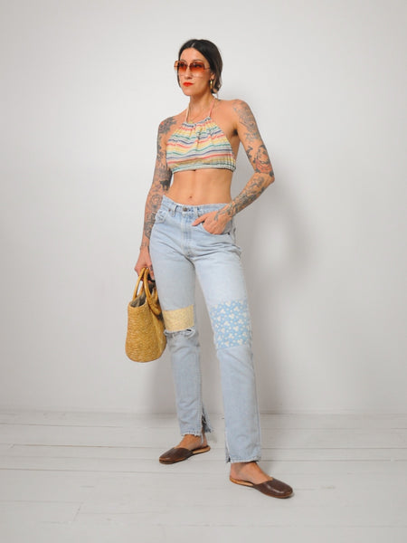 70's Rainbow Cropped Halter