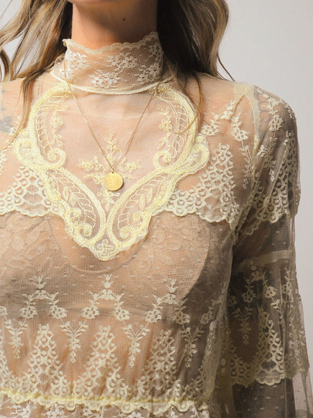 Antique Sheer lace blouse