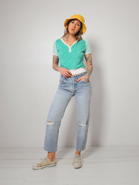 70's Terry Cloth v-neck Tee