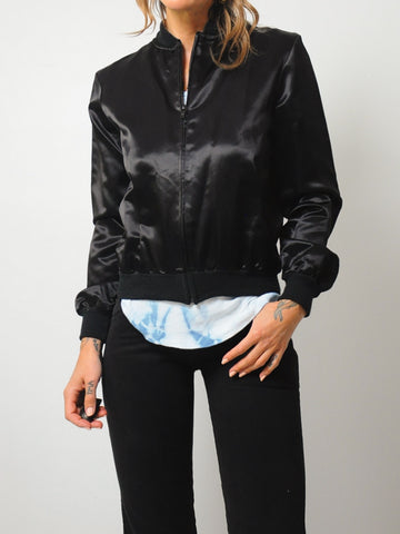 Black Satin Houston Bomber