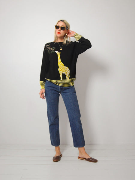 70's Embroidered Giraffe Sweater