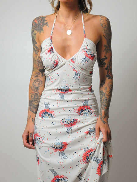 70's Bouquet Halter Dress